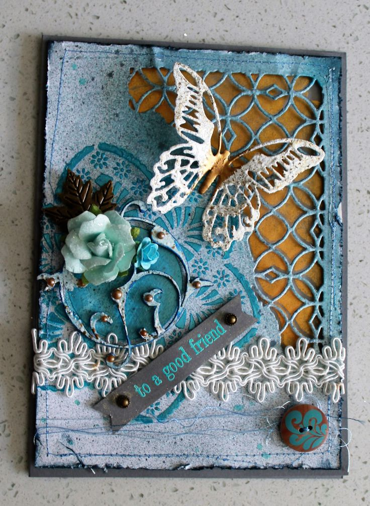 Mixed Media inspired by other pins using Tim Holtz distress dies