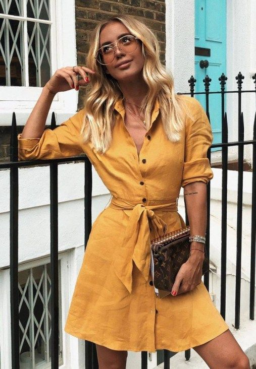 Great Fall Outfit With A Yellow Dress