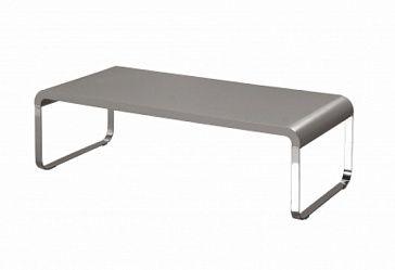 Журнальный столик Корпус - плита МДФ, покрытие - серый глянцевый лак, ножки- крашенная сталь, порошковое покрытие