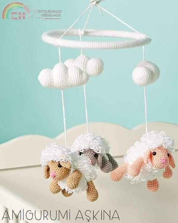 Amigurumi Sheep Baby Mobile by Amigurumi Aşkına/Turkish/Free -