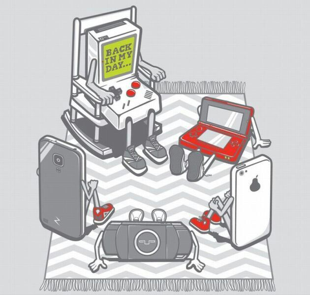 The old Grandpa Game Boy telling the new age games a story of back in his days. :) -D