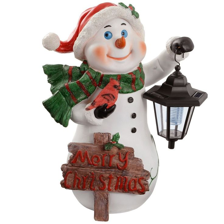Snowman with Lantern Solar Light Garden Christmas Decoration 40cm Free Shipping