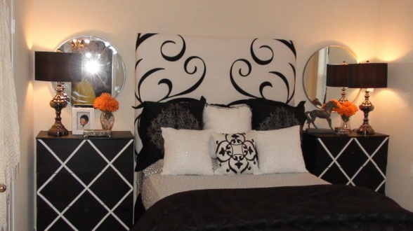 6' headboard made with a shower curtain