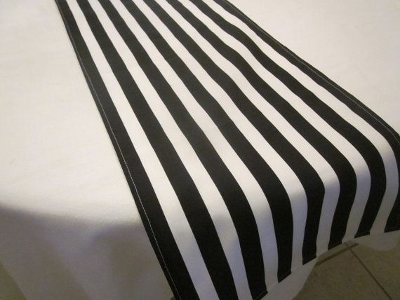 $8 This black and white stripe table runner will really dress up your Fall table. Its also perfect for Bridal Showers, Baby Showers, Weddings and