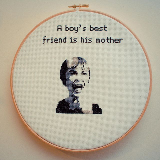 Psycho family values cross-stitch @Lucy Kemp Kerry for some reason I saw this, and thought of you