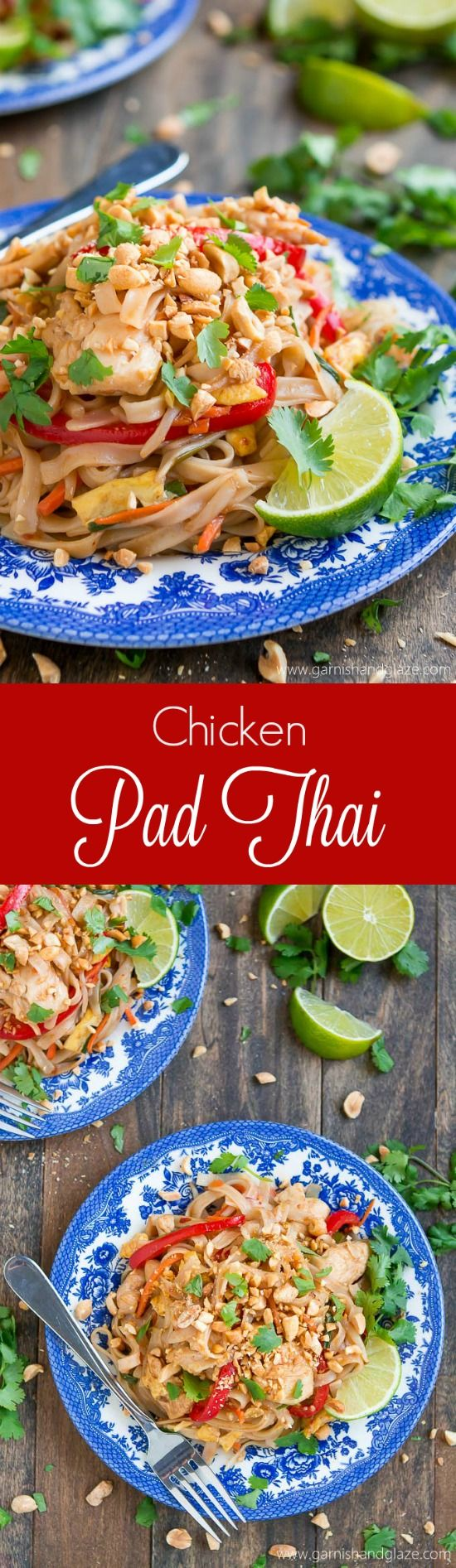 Enjoy Thai food at home with this quick, easy, and veggie filled Chicken Pad Thai.
