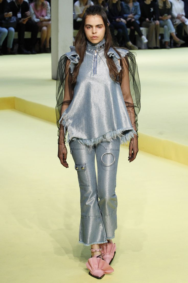 *metallic denim look for swimwear + frayed edges + ring details* Marques ' Almeida Spring 2017 Ready-to-Wear Collection Photos - Vogue