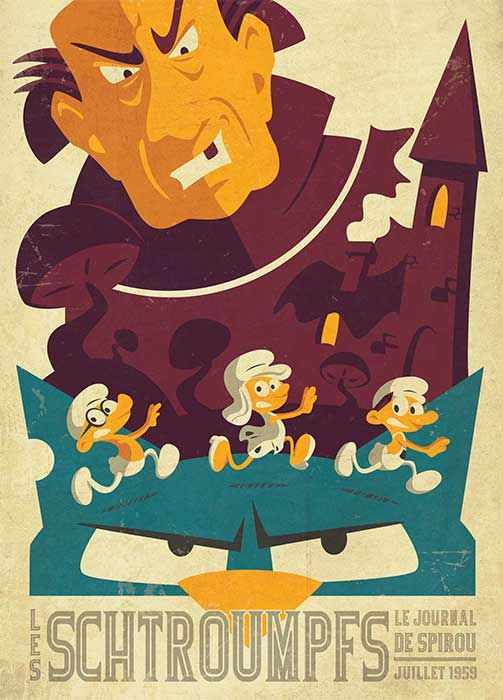 Poster inspired by Tom Whalen dedicated to Smurfs www.alicerisi.it