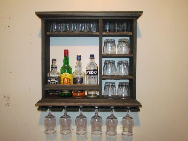 Mini Bar, Black Stain, wall mounted wine rack, minimalist style, by DogWoodShop on Etsy https://www.etsy.com/dk-en/listing/288058785/mini-bar-black-stain-wall-mounted-wine