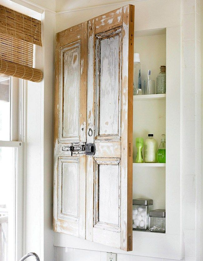 Dishfunctional Designs: New Takes On Old Doors: Salvaged Doors Repurposed    Medicine Cabinet Door From Shutters.something Like This For The Built In  Cabinet ... Part 53