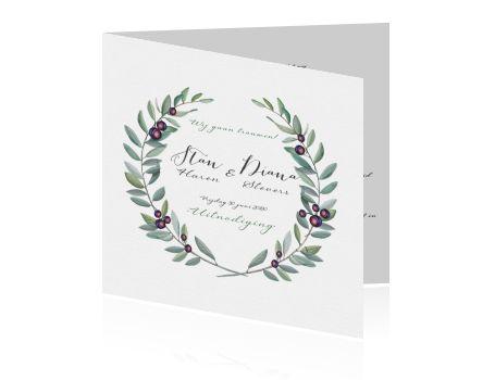 Klassieke trouwkaart met waterverf en olijftakken