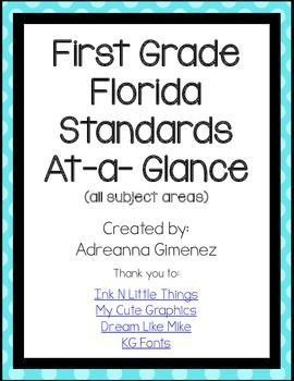An easy and quick reference for all Florida Standards for First Grade.ALL Math Florida Standards are listed on one page.ALL Language Arts Florida Standards are listed on two pages (but printed double sided will become one).ALL Science NGSSS are on one page!ALL Social Studies NGSSS are on one page.