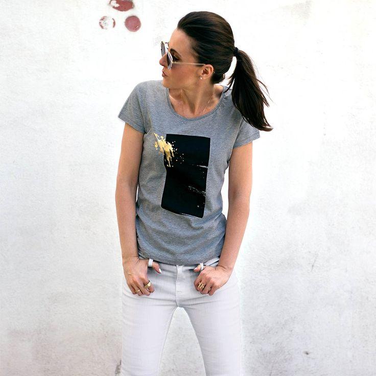 Urban Gilt - Brook Grey Gold Splash T-shirt| Women's Graphic Tees For Life's Adventurers | urbangilt.com | @urbangilt