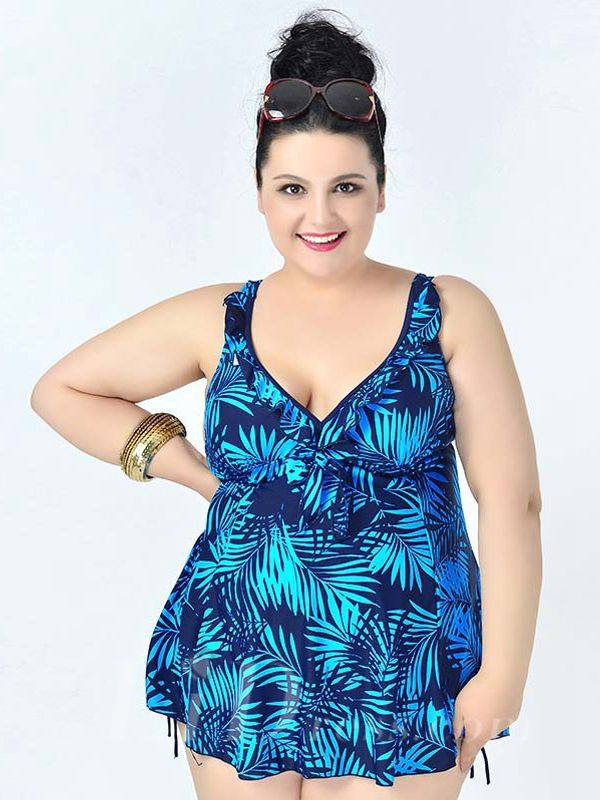Blue High Waist Leaf Printed Sexy Halter One Piece Plus Size Swimsuit With Little Skirt Lidyy1605241080