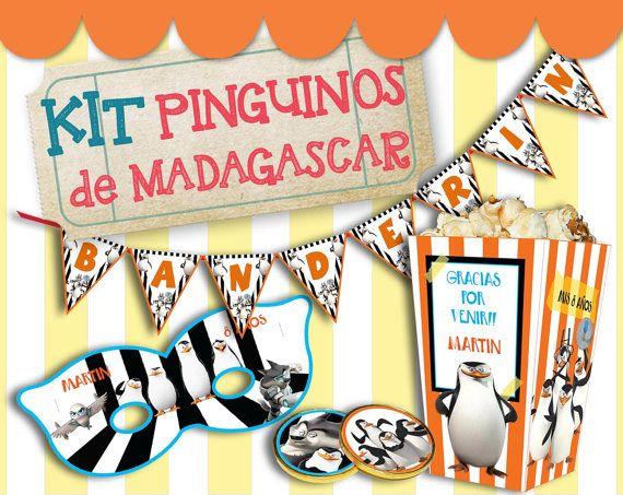 Kit imprimible Pingüinos de Madagascar - Textos editables para personalizar - Decoración fiesta - Candy bar - DIY