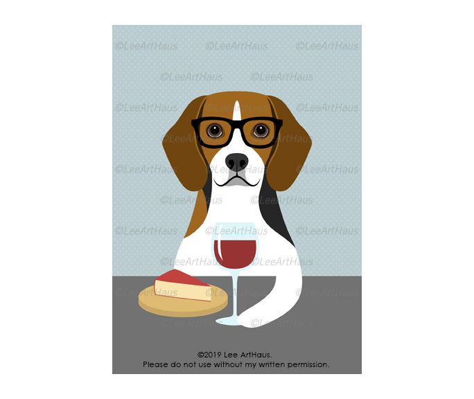 167g 5x7 Beagle Dog Drinking Wine And Eating Cheese Wall Art