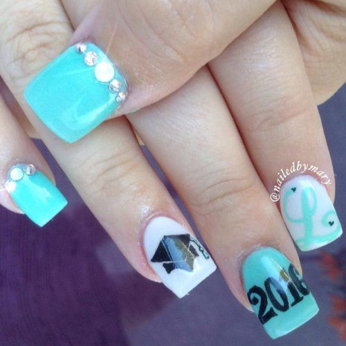 You graduation nails will be the most outstanding among your school girlfriends in case you choose one of the nail designs from our photo gallery. Let your image be flawless when saying goodbye to your school and heading towards a completely different adult life.