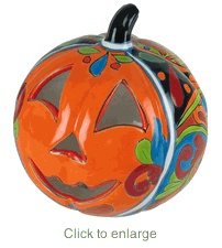 I may have to add Talavera pottery to my list of obsessions. Anyway, jack-o-lantern. So freakin' cute.