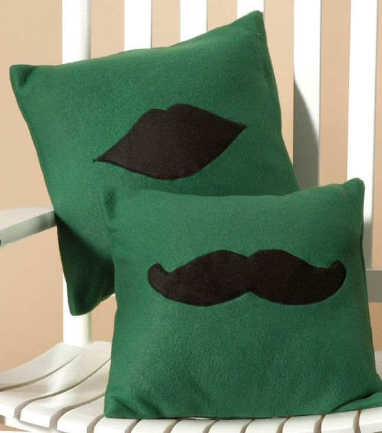 #sewmuchlove for these lip and mustache applique pillows!Fleece Pillows, Sewing Projects, Black Moustaches, Red Lips, Applique Pillows, Throw Pillows, Lips Pillows, Fleece Moustaches, Lips Appliques