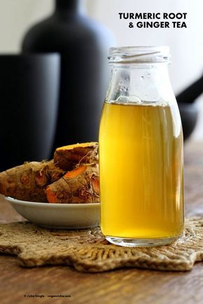 Ginger Turmeric Root Tea. Fresh Turmeric Root and ginger simmered with black pepper. Add sweetener of choice. Serve hot or chilled. Vegan Gluten-free Recipe | VeganRicha.com