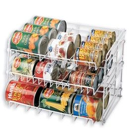 I need this- I hate all those cans sittin' around all willy nilly in my pantry! Container store $14.99