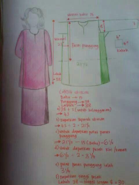 Baju kurung pesak step 1