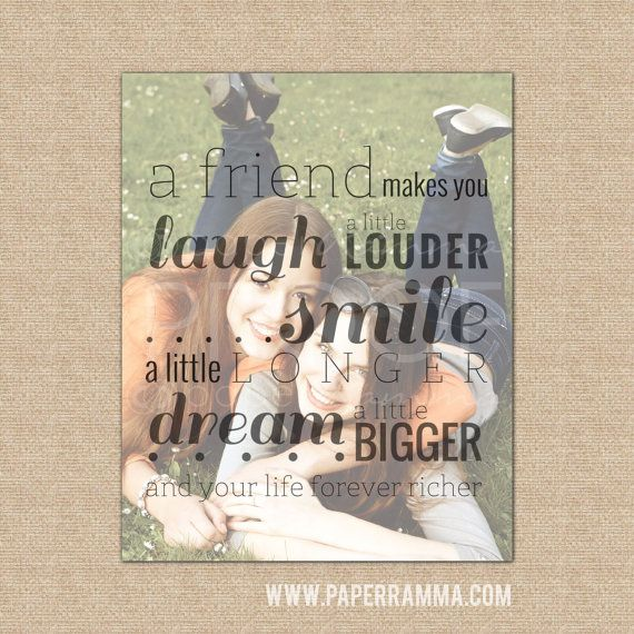 Laugh A Little Louder Friend Quote, Friend Christmas Gift, Friend Gift // Special print with a photo // You Choose Size & Type // H-Q20-1PS