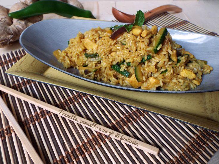 Riso+parboiled+con+zucchine,+pollo+e+spezie
