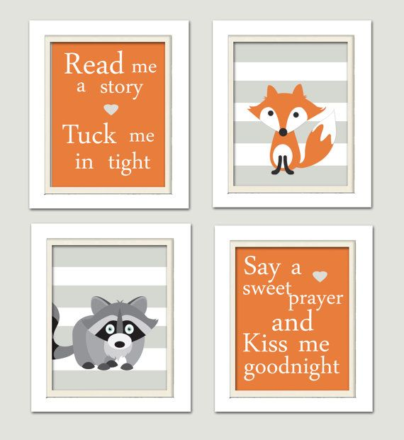 Nursery Quad, Woodland Nursery, Fox Nursery, Set of 4 8X10, Stripes, Orange, Grey, Read me a story