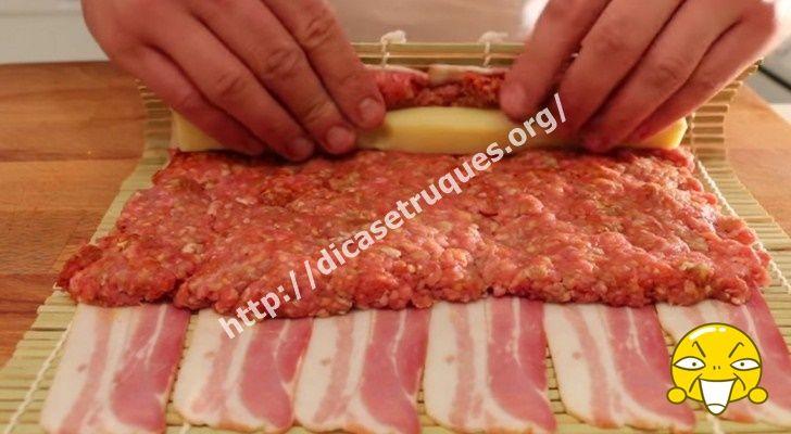 Carne E Queijo Enrolados No Bacon. O Resultado é Espetacular!