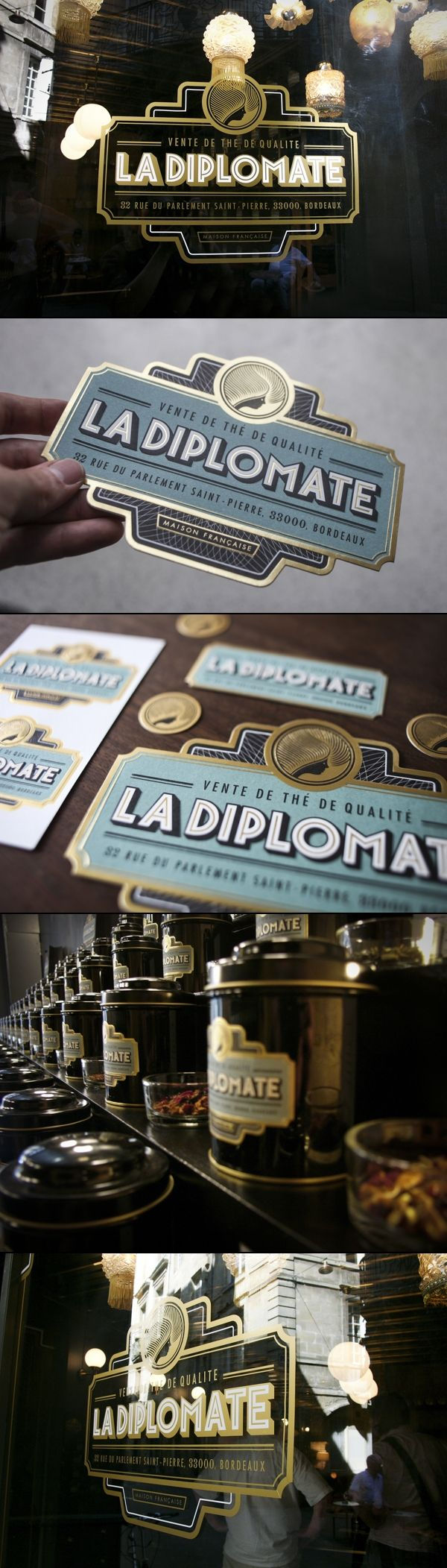 AR's notes: example of black & gold typography. Distinguished, classic, 1920 inspired. ==  la diplomate