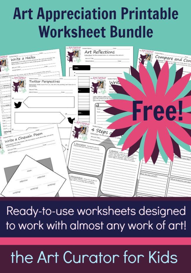 join my e mail newsletter to receive a free art worksheet bundle art worksheetsworksheets for kidsprintable - Printable Art For Kids