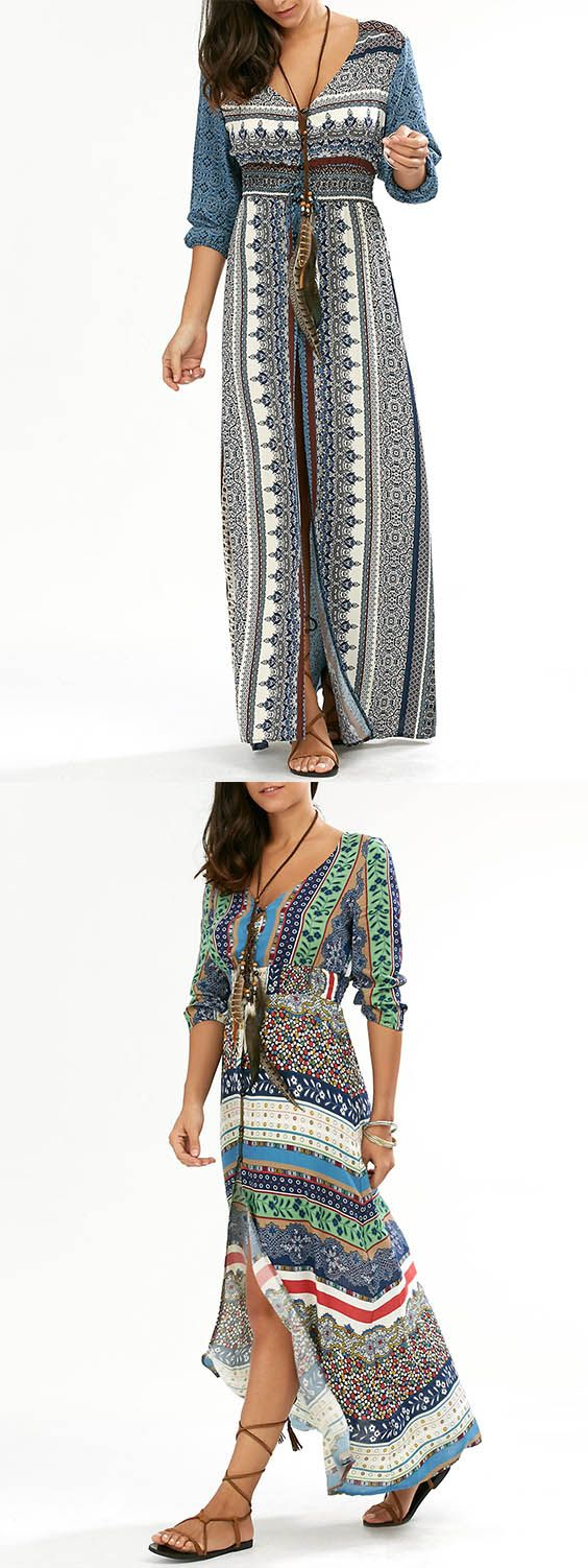 Empire Waist Button Down Bohemian Maxi Dress