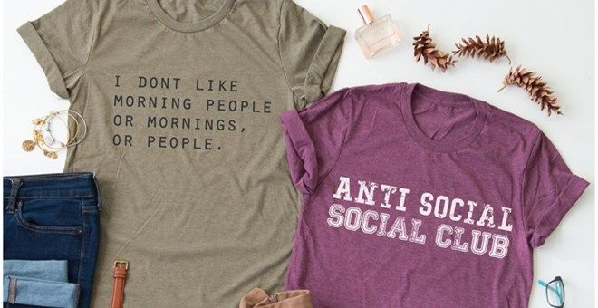 You will be the life of the party in our new Anti Social Tees! Show off our personality by layering them with your favorite cardigan, jeans, and shoes.
