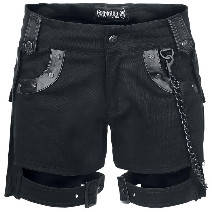 "Gothicana by EMP Shorts, Women ""Black Chain Shorts"" black • EMP"