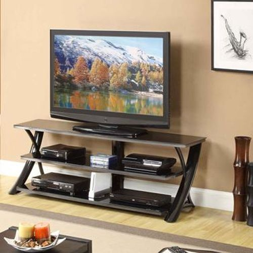 prop up your tv with this whalen black and silver tv stand must have