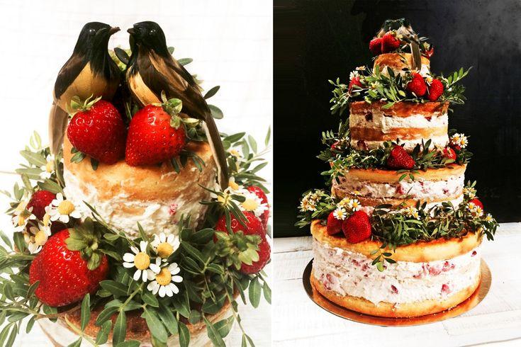 4-stöckige Hochzeitstorte | weddingcake with four layers #nakedcake #vogelhochzeit #layercake #wedding #strawberry #mascarpone