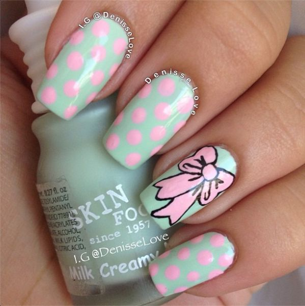 Polka Dot Bow Accent Nails By Instagram's @Denisa