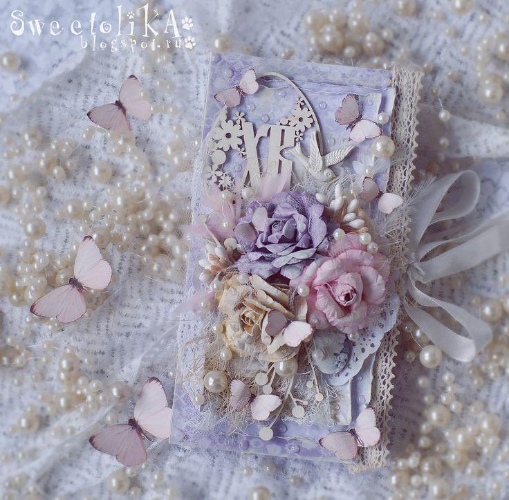 Easter Card. handmade flowers. lilac