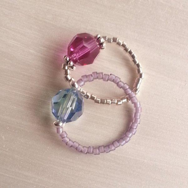 Coppia+di+anelli+con+perline+e+cristallo+di+GiCaBijoux+handmade+jewelry+su+DaWanda.com