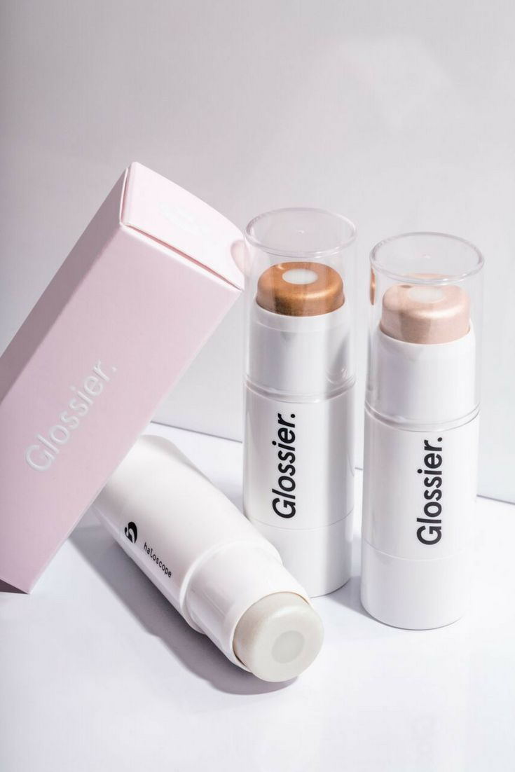 Skincare + makeup, Haloscope highlighter from Glossier. The outer halo is infused with real crystals for all-day enlightenment. The core is made with vitamin-rich oils.