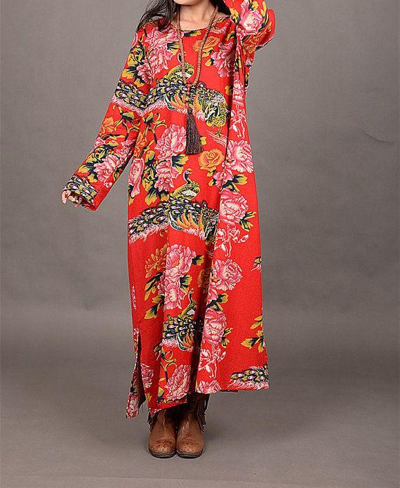 Maxi Dress linen dress cotton dress print dress by cottondress23