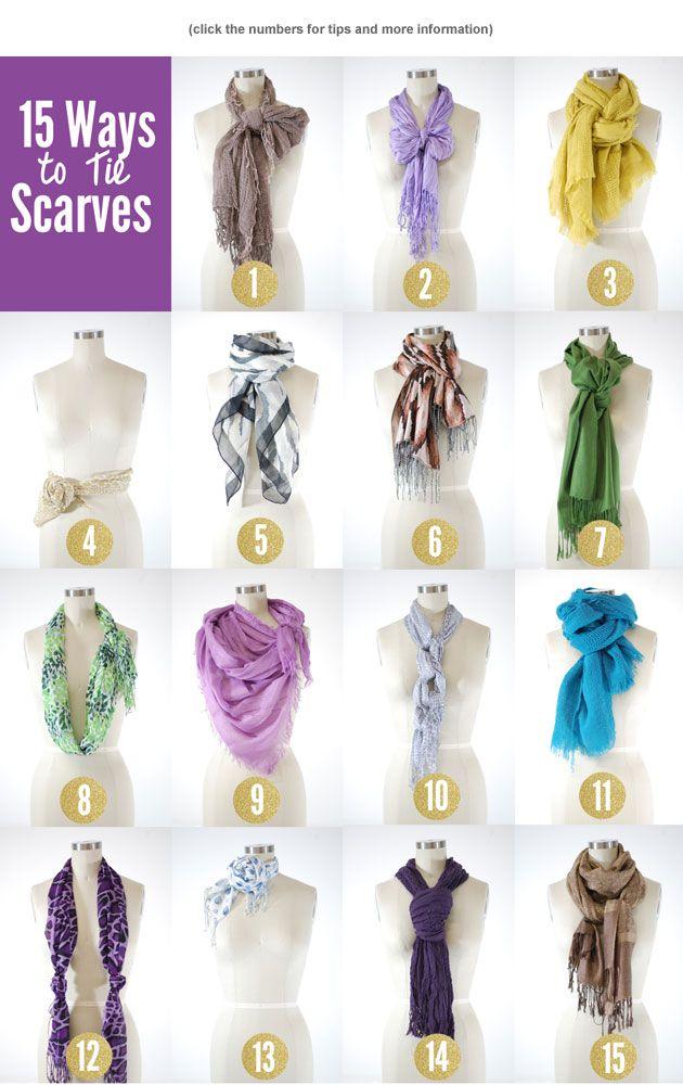15 Ways to Tie Scarves! @ANNIKA VOGT Pfaender-Purvis