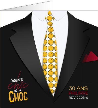 Carte d'invitation anniversaire Soirée chic détail choc. Disponible en 2 formats, plié ou simple, sur Popcarte.com