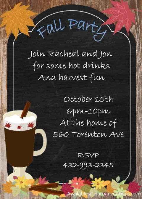 hot fall drink on chalkboard with leaves party invitations