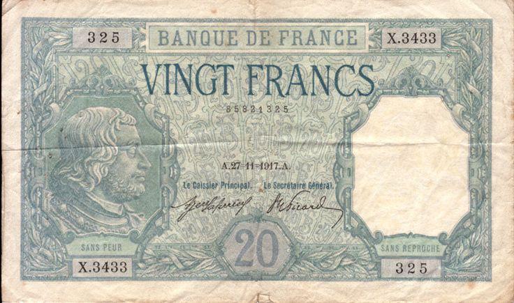 Billet français de 20 francs effigie chevalier Bayard daté 1917 (recto)
