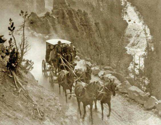 Stagecoach on the Virginia Canyon Road, Yellowstone, 1905.