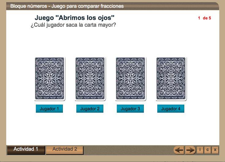 Juego para comparar fracciones | 4º Primaria. En este objeto se proporcionan tarjetas de fracciones para jugar comparando sus valores.