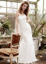 David's Bridal Wedding Dress: Strapless Lace Gown with Ribbon Detail Style WG3381