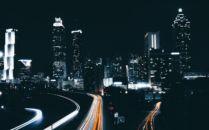 Download wallpapers Atlanta, 4k, nightscapes, skyscrapers, USA, America